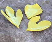 Set of 3 Small, Yellow, Ceramic Sassafras Leaf Trays Made from Real Leaves