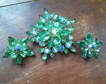 Unsigned Rhinestone Set, Large Green Rhinestone Brooch and Clip Earrings