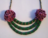 Necklace with peonies and green lines from polymer clay fimo handmade