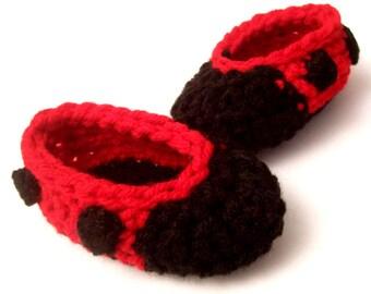 Crochet Newborn Ladybug Slippers Pattern - INSTANT DOWNLOAD - Crochet PDF Pattern