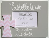 Hand painted personalized childs 4X6 wooden cross picture frame