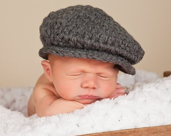 Baby Boy Irish Donegal Cap 0 to 3 Month Baby Boy Hat Donegal Baby Hat Charcoal Gray Tweed Wool Photography Prop Driving Hat Newsboy