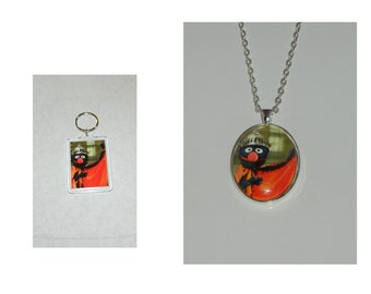 Sesame Street Super Grover Glass Pendant Necklace and/ or Keychain