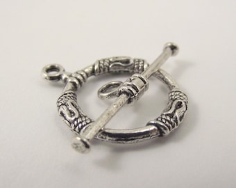 2 Bali Pewter Toggle Clasp, Silver Toggle Clasp