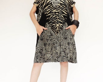 NO.138 Black and Cream Cotton Jersey Tie-Dyed Tunic, Geometric Printed Top