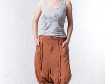 NO.154 Terracotta Cotton-Blend Jersey Casual Harem Pants, Drop-Crotch Trousers