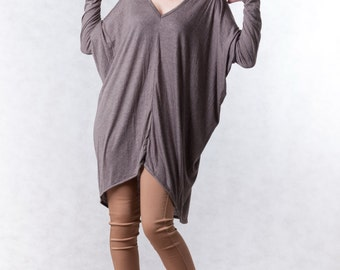 NO.156 Brown Cotton-Blend Jersey Unusual Sleeves Top V-Neck, V-Neck T-Shirt