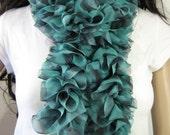 Crochet Ruffle Scarf - Handmade Crochet Fabric Ruffled Scarf - Long Ruffle Scarf - Green and Black Print - Ready To Ship!