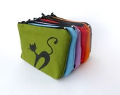 Bridesmaid Gift Bridal Wedding zipped 6 pouches  small toilet bags cotton pouch cat