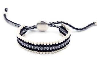 Link Friendship Bracelet - Black Silver Strips - (One Direction)