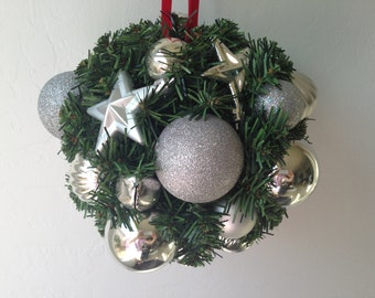 Evergreen Kissing Ball is made with Silver Shatter Proof Ornaments, Mistletoe  Holiday Kissing Ball, Christmas Kissing Ball, Silver Mistleto