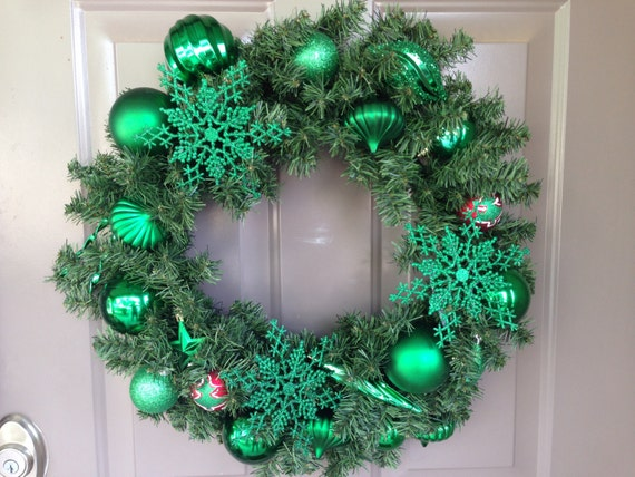 Evergreen Wreath is made with Shatter Proof Ornaments, Snowflake Wreath, Green Front Door Wreath, Christmas Wreath, Indoor Holiday Wreath