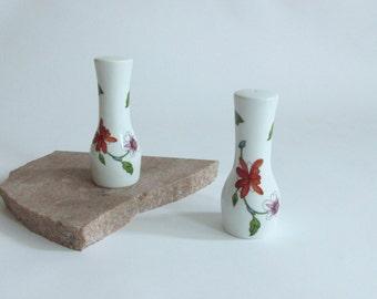 Royal Worcester Astley Salt and Pepper. Floral Displays. Porcelain. Oven to Table Ware. England.