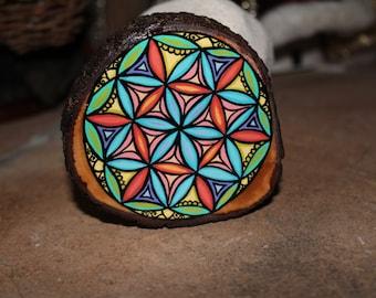 Handpainted Flower of Life Mandala