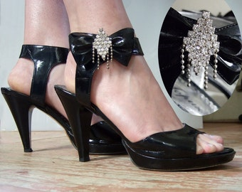 Patent high heeled sandals with rhinestones, size 38
