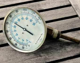 Vintage Gauge Industrial Salvage, Steampunk, Temperature, Dial, Glass Face