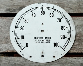 Vintage Gauge Face Plate, Industrial Salvage, Aluminum, Found Object, Meter