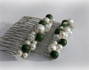 2 x Bridal Winter Wedding Hair Combs Bride Bridesmaid Christmas Wedding Green Ivory Free Shipping
