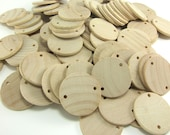 "100 Unfinished Wood Discs Coins Circles with Holes - Birthday board Tags - 1.5"" (3.8cm) Diameter Pendant"