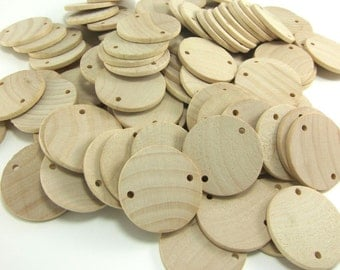"""100 Unfinished Wood Discs Coins Circles with Holes - Birthday board Tags - 1.5"""" (3.8cm) Diameter Pendant"""