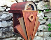 RESERVED for Teri: The Sunrise, Art Deco Birdhouse Made of Reclaimed Wood and Metal--Made to Order