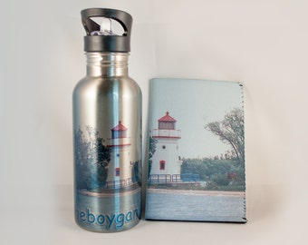 Stainless Steel Water Bottle, Cheboygan Crib Michigan Lighthouse Design, Historical, Nautical, Photograph, Michigan