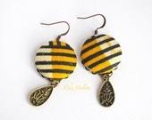 Sunflower Yellow Ecru earring, Black Stripes dangle, Ethnic earrings, African Fabric earring, Bohemian Tribal earrings