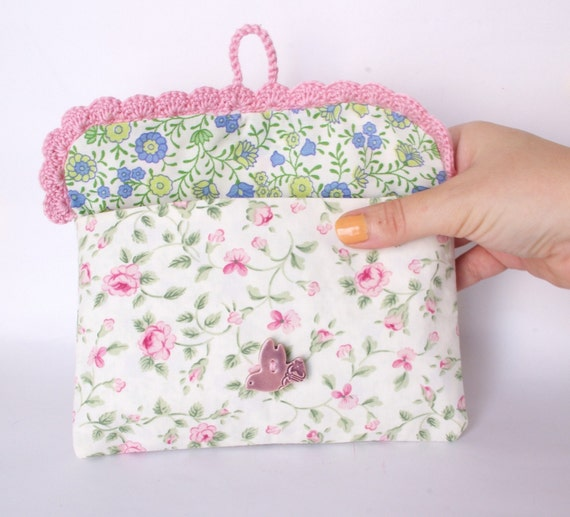 Pink Spring Cosmetic makeup bag with crochet lace Vintage rose fabric and ceramic bird button Pouch Clutch Bridal Bag