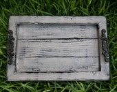 Decorative / Serving Tray - Distressed Gray with Black Glaze Topcoat