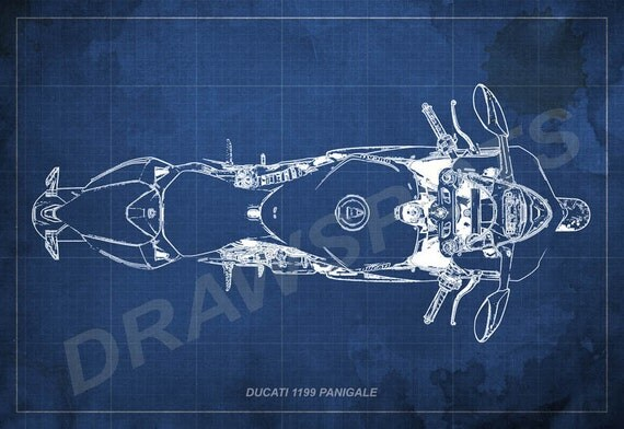 Ducati 1199 Panigale Blueprint Art Print 8x12in To 60x41in
