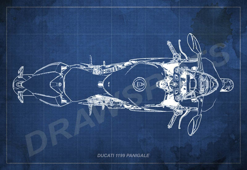 Ducati 1199 panigale original drawing on sale great gift for ducati 1199 panigale blueprint art print 8x12in to 60x41in motorcycle art print big malvernweather Gallery