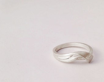 Sterling Silver Asymmetrical Wrapped Wave RIng