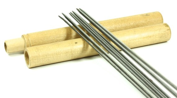 Wooden Knitting Needles : Wooden Antique Knitting Needle Holder/Case With Eight Double-Pointed ...
