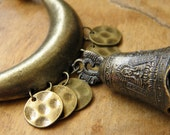 162 - Black leather necklace and tibetan bell bronze color - Bahia Del Sol