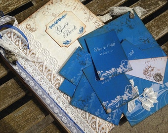 A4 Wedding Guest Book - navy blue with pale grey