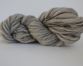 Light  Heather Gray  Hand Spun Thick and Thin   Super Chunky  Wool Yarn