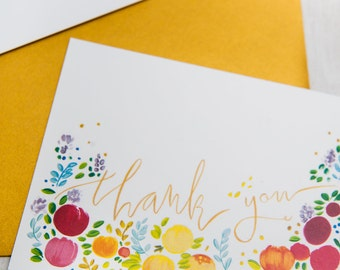 Rainbow and Gold Calligraphy Thank You Set of 5  Cards