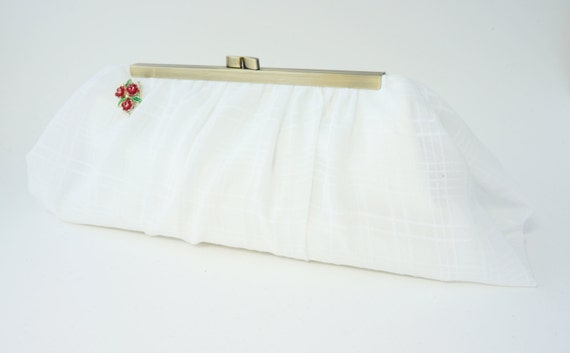 Romantic White Chiffon Bridal Clutch Purse - Vintage Hollywood Style - White Evening Handbag - Ready to Ship - Free U.S. shipping!