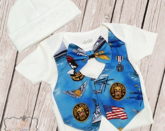 Military Navy Baby Coming Home Vest and Tie Outfit