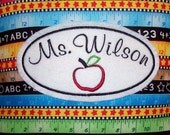 Personalized Teacher mini-pillow door knob hanger