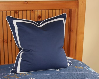 Design Your Own Linen Pillow Cover with an Inset Border and Piping