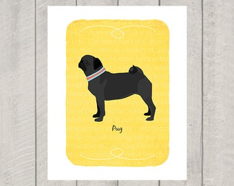 Black Pug Breed Custom Dog Art Print