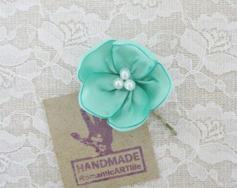Mint Flower Hair Pin. Mint Flower Hair Piece. Bridesmaid Hair Accessory.