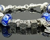"ZETA PHI BETA 7.5"" European Style Large Hole Bead Sorority Bracelet with Dove and Love Charms"