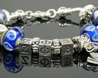 "ZETA PHI BETA 7.5"" European Style Large Hole Bead Sorority Bracelet with Dove and Love Charms"