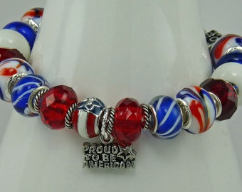 "PROUD AMERICAN BRACELET 8"" European Large Hole Patriotic Red White Blue with Charms"