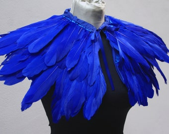 Blue  feathers shall.Shoulders  Feathers cape . gothic decadence costume ,vintage capelet .