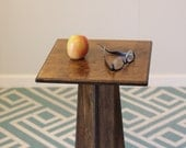 Small Wood Side Table or Nightstand - Pedestal style - Dark Walnut Color