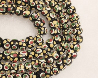 Black Dotted Indonesian Glass Beads, Eye Design Beads, Ethnic Beads (D107)