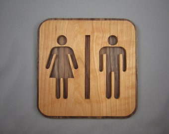 Wooden Sign for Bathroom